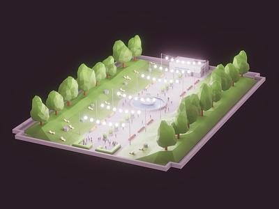 Poly Park gameart indiedev gamedev unity blender lowpoly