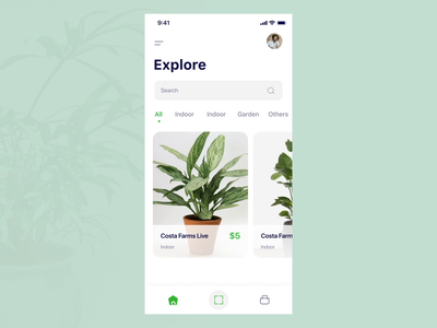 Plants e-commerce App augmented augmentedreality vr ar 3d app 3d cart ecommerce design ecommerce ecommerce app plant buy plant cart tree leaf plant planter plants