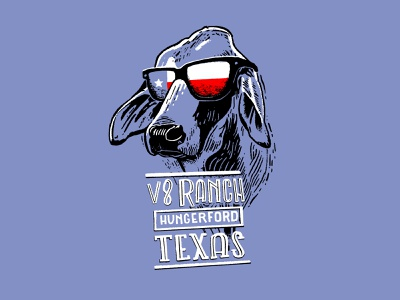 One Cool Brah hand lettered type ranch texas illustration cow shirt