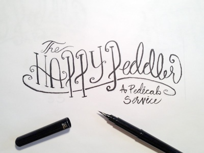 The Happy Peddler Inked happy peddler pedicab bike service type drawn bush pen hand
