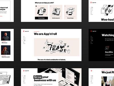 App'n'roll – new website business technology interface dark illustration black swiss design ux ui landing web website webdesign brutalism bold