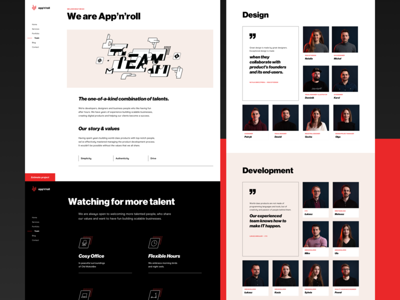 App'n'roll – Team subpage subpage team bold website typography swiss illustration black and white brutalism web webdesign ux ui