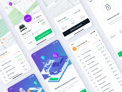 Vooom – app overview cards onboarding product rentals carsharing uber map interface android mobile ios app application ux ui