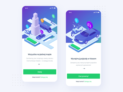Vooom – onboarding interface ux ui product rentals scooters cars carsharing vector onboarding illustration onboarding application mobile app ios android