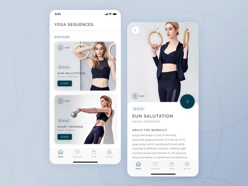 Yoga iOS App typography interface iphone apple pastel light training workout design asana ios mobile application app ux ui