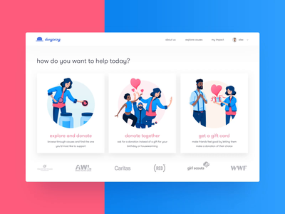 Dongiving • Home Page animation donating charity case study behance website web landing page webdesign application illustration motion loop after effects animation gif home page ux ui