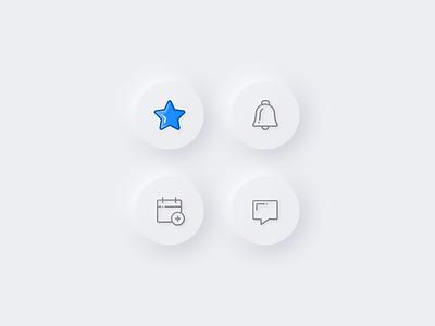 Neumorphism – icons skeuo 3d design trend clean 2020 minimalism button ui white neumorphic icons neumorphism