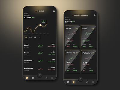 Investment App Design glossy dark ui dark ux ui design market financial stock finance banking money investing invest