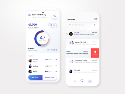 Smart money collection app design ux ui clean app design finance app design event finance pool collect money
