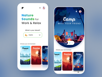 Nature Music Player App Design app design interface ux ui song player channel nature playlist application mobile spotify beats clean music player app music