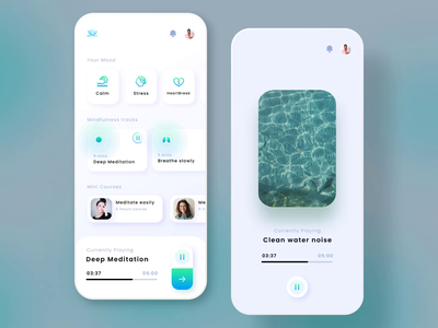 Meditation App Design mobile ux ui health mindfulness mind design clean card yoga chilling calm meditation lifestyle focus
