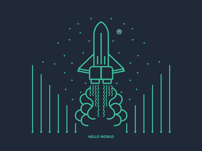 Hello World first shot hello world dribbble rocket smoke line debut