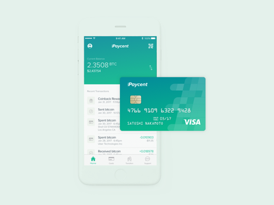 Paycent Bitcoin Debit Card ux design ui design interaction design card design bitcoin wallet mobile app bitcoin app bitcoin card debit card fintech bitcoin