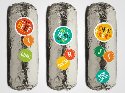 Go Loco Burrito Stickers packaging food stickers