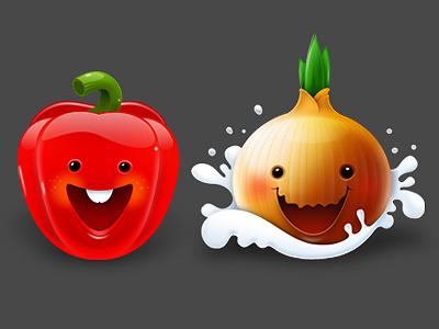 Paprika and Onion illustration mascot photoshop