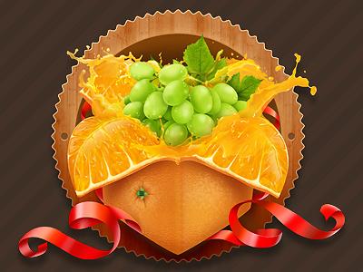 Orange Box illustration photoshop orange grapes