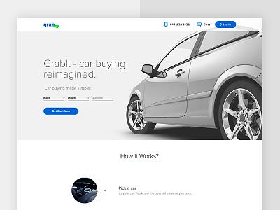 Grab-it website clean ukraine web landing flat ui ux auto car white