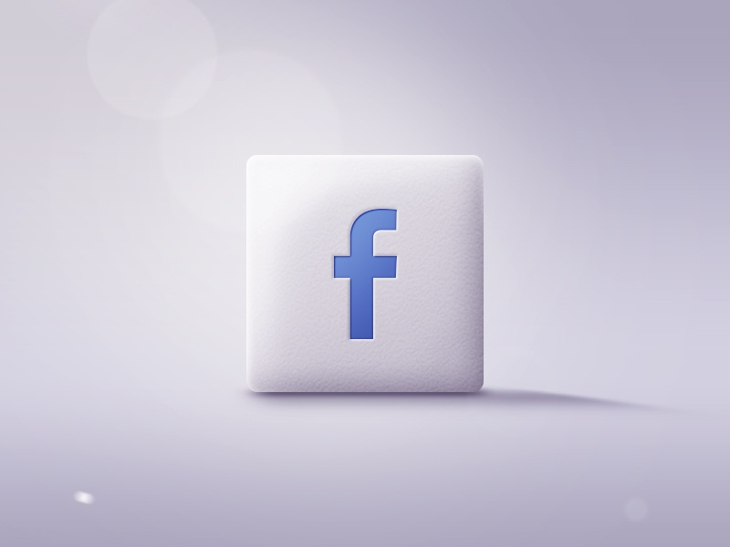 Facebook Icon facebook button icon logo texture lightning reflection light 3d fake disregard flat lens flare ico design realistic depth ui web