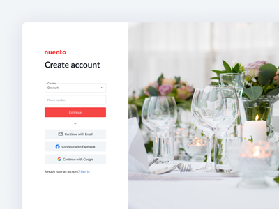 Create Account 2020 paswordless email google facebook ux ui profile create profile user log out log in sign in sign up account create