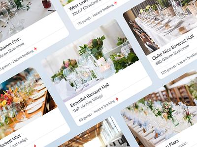 Place Cards 2020 app design product design unsplash photos uiux ux clear clean minimalistic hall banquet cards card ui event booking design icon app