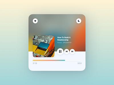 Music Player Widget 2020 cover title skip pause play favorite like love gradients night mode light mode teal orange yellow music app widget player music player music