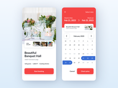Place - Calendar 2021 ui  ux mobile app booking system rental rent calendar design calendar ui app booking app cta button selection select banquet gallery price date picker booking calendar