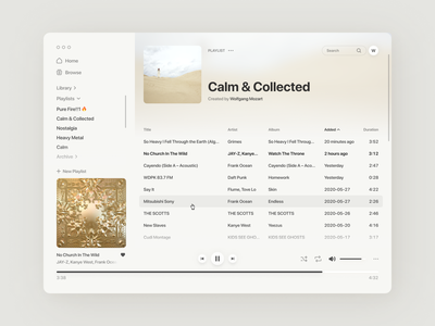 Music Player — Light Mode volume play controls interface playlist cover playlist ux minimalistic web desktop light mode windows macos app 2020 ui player music app music player music
