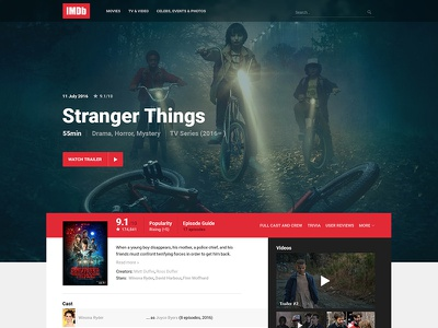 IMDb Movie/TV Page Redesign ux ui design web rework concept redesign imdb