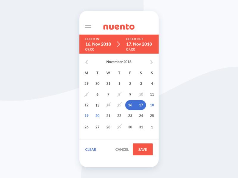 Date Picker for Nuento's Web App date date picker webapp design ui app web calendar