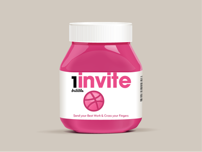 Dribbble Invite illustration cool nutella invite dribbble invitation 2013 glass packaging plastic label logo avant garde effect cool effect illustrator gradient mesh mesh realistic depth fake 3d 3d 2d pink invites mads egmose glass icon icon