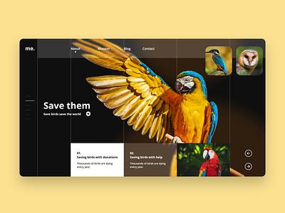 Birds Website UI design Concept web design landing page website concept landing page website design ui ux user interface design ui design ui