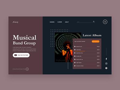 Musical Band Website UI Design  Concept music website template website concept website design user interface design ui ux ui design ui music music website design