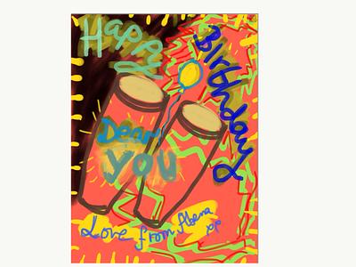 HBD dance illustration creative musician male bongo drums african design birthday card