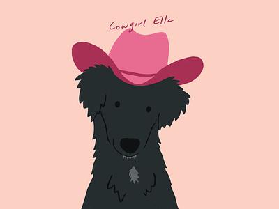 cowgirl ella cowgirl cowboy hat cowboy dogs procreate puppy animals dog illustration