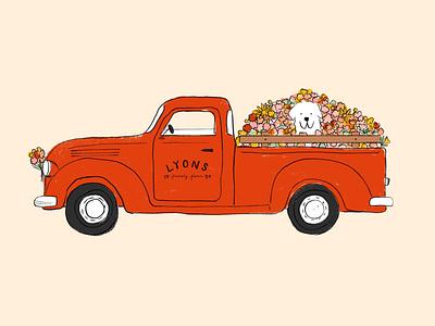 Flower Delivery spring flower flower farm farm truck flowers procreate puppy animals dog illustration
