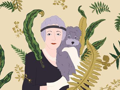 Elsie de Wolfe interior decorator lady mendl lady mendl woman poodle fern chintz elsie de wolfe procreate illustration dog portrait