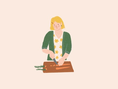 Chopping Carrots ipad girl food kitchen compost composting carrots procreate illustration