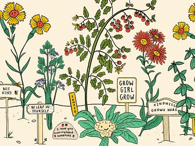 Gardening Lessons positivity vegetables flowers procreate illustration plants garden