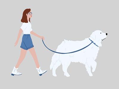 dog walkin' animals dog illustration procreate doggy walking cowboy cowgirl woman pup illustration dog