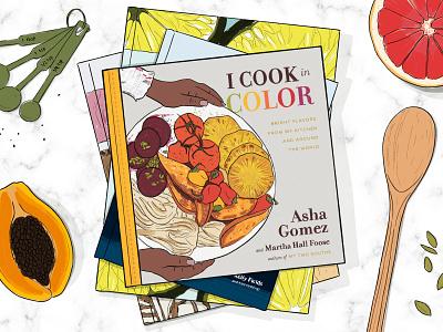 Fall Cookbooks kitchen grapefruit papaya food cooking cookbook illustration