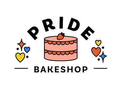 Pride Bakeshop logo cake vector illustration bakery bakeshop bake pride