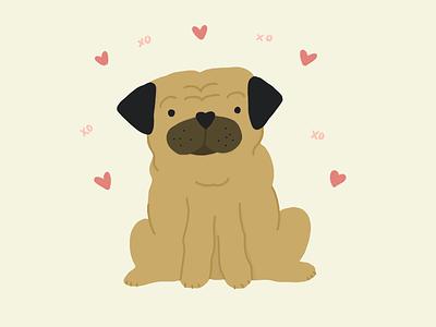 pugs & kisses love kisses hugs valentines day pup dog pugs pug