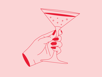 Yay Friday! hand cheers drinks vector illustration