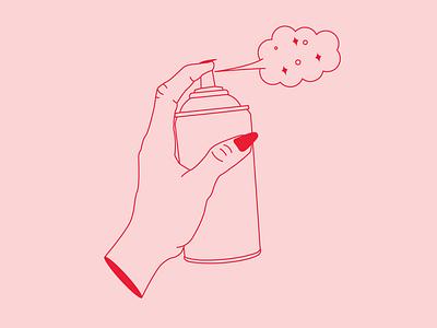 Poof poof spray spraypaint spraycan hand vector illustration
