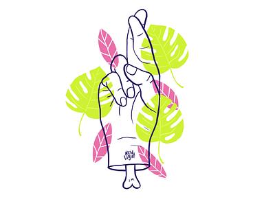 New Light neon bone montserrat leaves fingers crossed john mayer new light hand illustration
