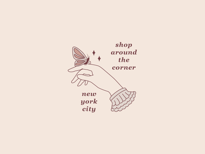Shop Around the Corner youve got mail nyc butterfly vintage logo hand vector illustration