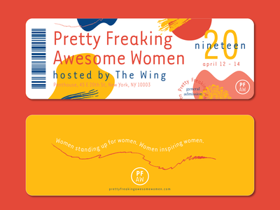 PFAW Tickets shapes collage feminist feminime conference woman women event branding event vector