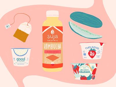 Gut Friendly Groceries kitchn pickles tea cottage cheese kombucha yogurt gut stomach illustration