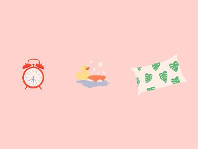 Snooze bubbles pillow clock app sleep illustration