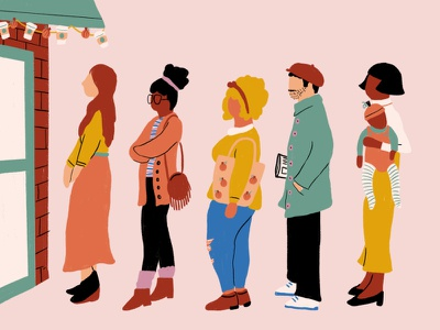 Waiting in line for that Pumpkin Spice Latte! people pumpkin spice fall halloween october procreate illustration
